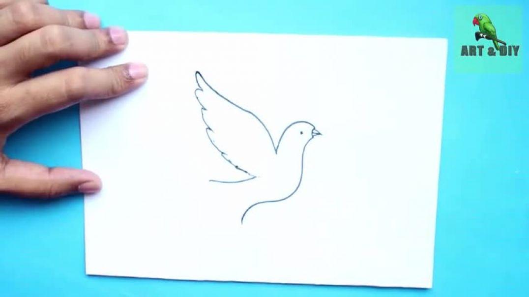 ২ মিনিটে পাখি আর্ট।।Bird_Drawing_Easy_