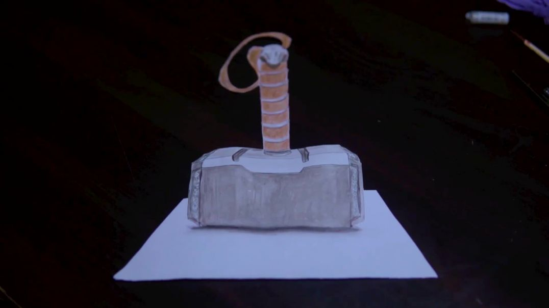 How To Draw 3D Realistic Thor Hammer | step by step Art 3d Hammer | 3D Art | Art with Artist