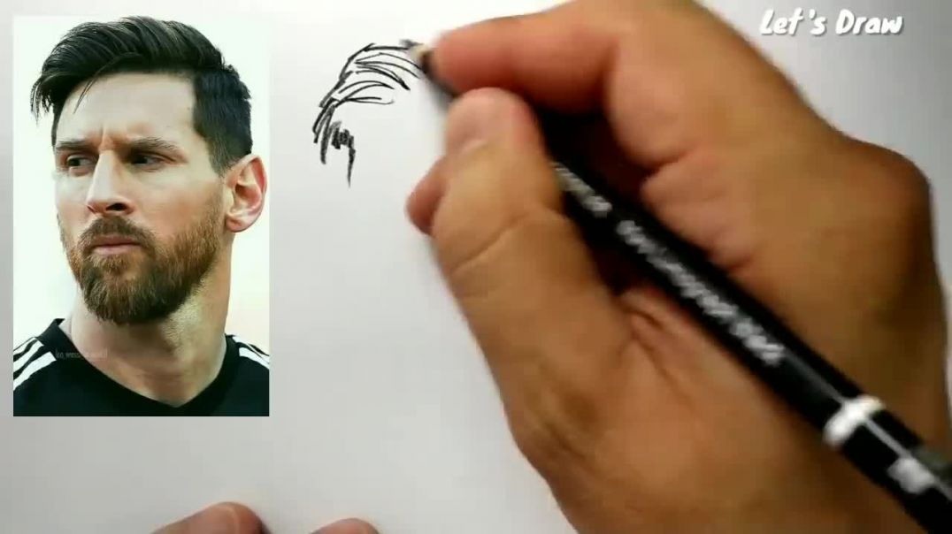 ASMR drawing Lionel Messi _ how to draw lionel messi from Barcelona football club