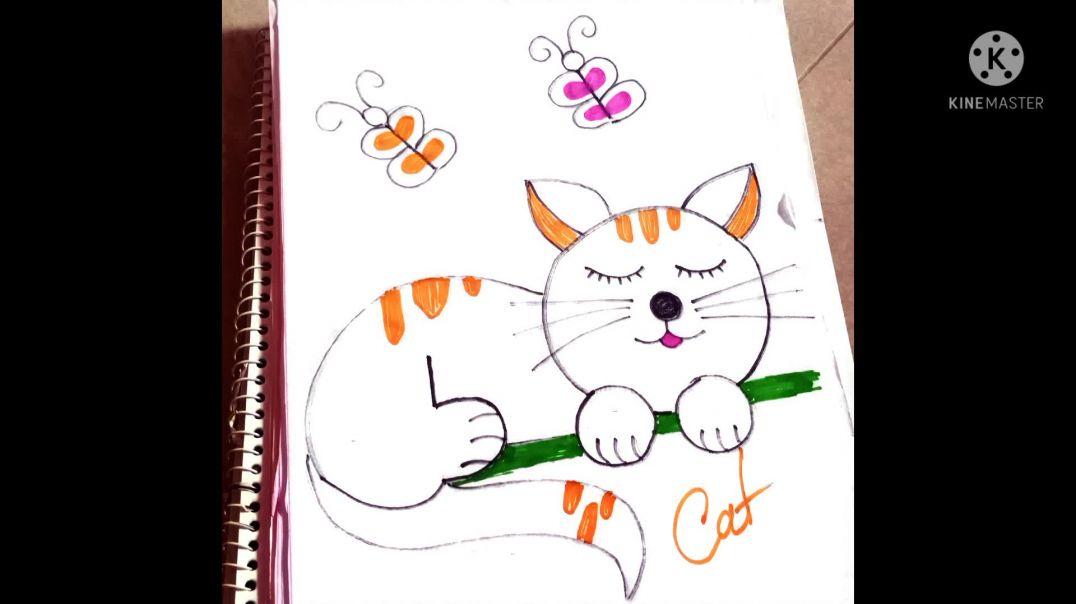 Draw a cat/easy drawing/আঁকাআঁকি