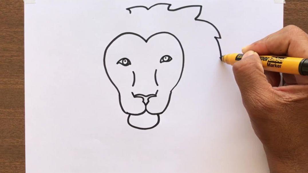 কিভাবে_একটি_সিংহ_মুখ_আঁকবো _ How to Draw a Lion Face _ Easy and Simple Drawing